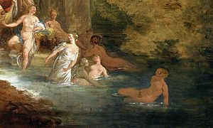 Bathing - Detail of Jean-Pierre Norblin de La Gourdaine's Bath in the Park (1785)