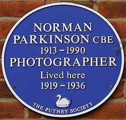 Normanparkinsonblueplaque, 32 landford road, putney
