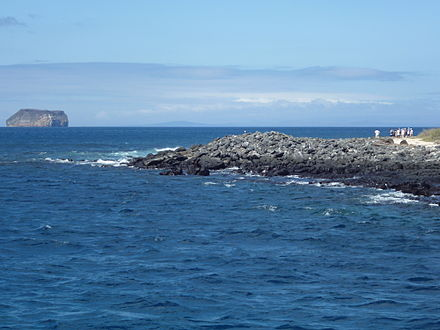 North Seymour Island in the Galápagos; Daphne Island is in the distance. North Seymour Island in the Galapagos about to land on shore photo by Alvaro Sevilla Design.JPG