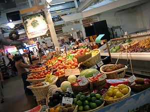 North Market - The market's interior contains a mixture of produce, retail, and food stands.