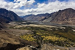 Nubra Valley with Diskit Gompa and town immediately below and Hunder in the distance