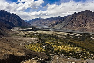 Nubra Valley - Nubra Valley with Diskit Gompa and town immediately below and Hunder in the distance