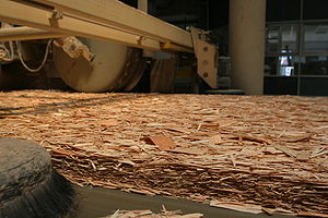 Oriented strand board - OSB in production before gluing in a thermal press