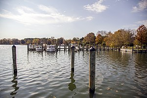 Newcomb, Maryland - Oak Creek and the Newcomb waterfront in 2017