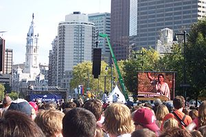 Voter registration drive - An October 2008 voter registration rally held on behalf of Barack Obama's presidential campaign, on Philadelphia's Benjamin Franklin Parkway.