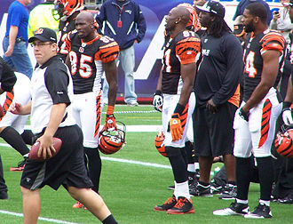 Jermaine Gresham - Gresham (far right), next to Terrell Owens (center) and Chad Ochocinco (left), in 2010.