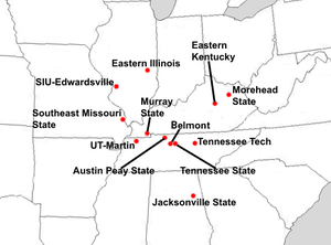 Ohio Valley Conference - Locations of current Ohio Valley Conference full member institutions.