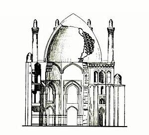 Dome of Soltaniyeh - Image: Olcaytu Xudabəndə türbəsinin kəsiyi 001