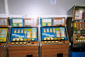A group of old British fruit machines at Teign...