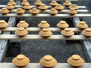 Hita, Ōita - Onta Pottery drying in the sun.
