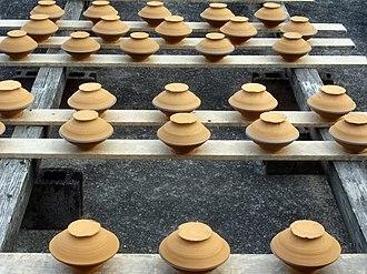 Hita, Ōita - Onta Pottery drying in the sun.