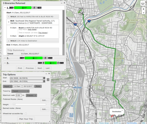 General Transit Feed Specification - Screenshot showing OpenTripPlanner with route from GTFS data highlighted.