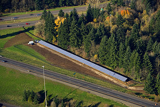 Solar power in Oregon - The 104kW solar highway along the interchange of Interstate 5 and I-205 near Tualatin, Oregon in December 2008.
