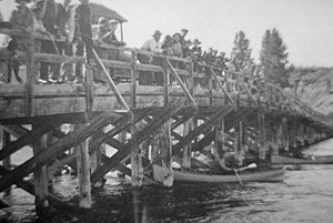 Angling in Yellowstone National Park - Original Fishing Bridge at the Yellowstone Lake outlet. Built in 1901