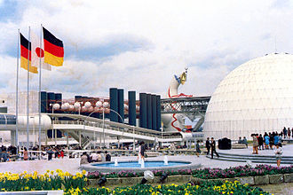 Expo '70 - The Korean (left-center, in the distance) and West German (foreground) Pavilions (far background: Tower of the Sun)