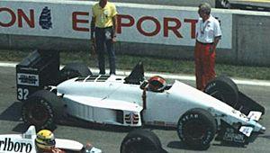 Oscar Larrauri - Larrauri driving for EuroBrun at the 1988 Canadian Grand Prix.
