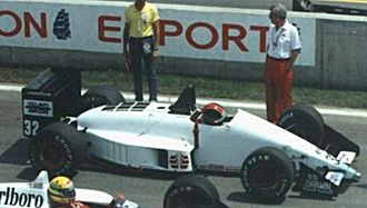 EuroBrun - Oscar Larrauri driving for EuroBrun at the 1988 Canadian Grand Prix.
