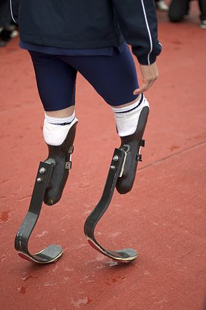 Oscar Pistorius - Pistorius in his prosthetics at an International Paralympic Day event in Trafalgar Square, London, on 8 September 2011