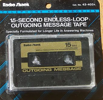 An endless-loop outgoing message tape used in dual-cassette-based answering machines OutgoingMessageTape.jpg