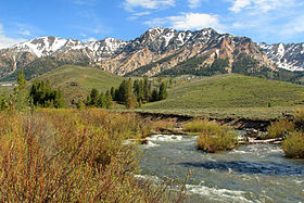 A photo of the Boulder Mountains and the Big Wood River