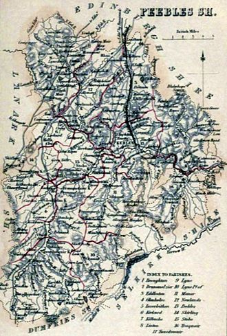 Peeblesshire - Image: PEEBLESSHIRE Civil Parish map