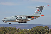 PLAAF Ilyushin Il-76 landing at Perth Airport.jpg