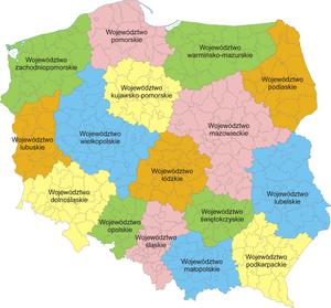 Mapa da Pol�nia com a divis�o em voivodias.