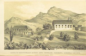 Christianity in Sierra Leone - Church and Missionary House in Regent, Sierra Leone (1850)