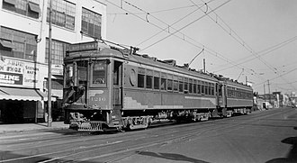 Santa Ana (Pacific Electric) - A PE train on San Pedro Street, Los Angeles, en route to Santa Ana in the 1940s