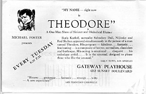 1946 advertisement for theatrical performance by Brother Theodore