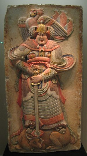 Later Liang (Five Dynasties) - Stone relief from the tomb of Wang Chuzhi. National Museum, Beijing