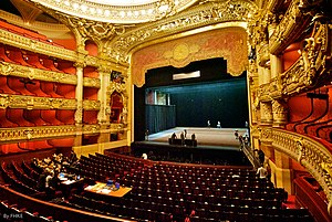 Theater (structure) - The interior of the Palais Garnier, showing the stage and auditorium.