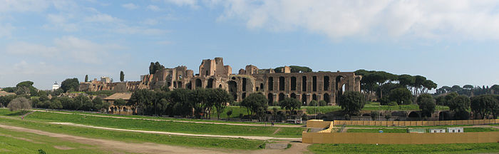 Palatine Hill Rome Panorama from Circus Maximus.jpg