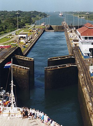 Panama Canal locks - Gates of the Gatun locks open for a cruise ship making its way down to the Caribbean end of the canal.  The gates at both ends of the upper chamber are doubled for safety.