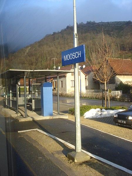 Panneau de la gare de Moosch, le 12 décembre 2010, jour de la mise en service du tram-train de la Vallée de la Thur.