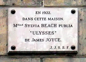 Sylvia Beach - Image: Paris Rue de l Odeon 12 plaque retouched