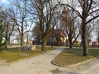Heraltice - Center of the town with the Church of Saint Giles and the Statue of Saint John of Nepomuk