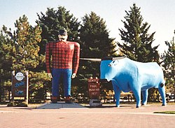 Paul Bunyan and Babe statues Bemidji Minnesota crop.JPG