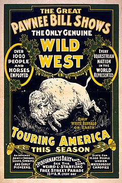 Poster for The Great Pawnee Bill Shows. The only genuine wild west. Touring America ... c1903