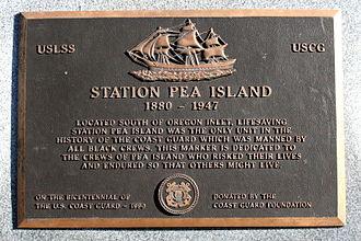 Pea Island Life-Saving Station - Memorial plaque on the grounds of the North Carolina Aquarium on Roanoke Island