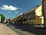 Adama Mickiewicza street in central part of the town of Pelplin, Pomeranian voivodeship, Poland