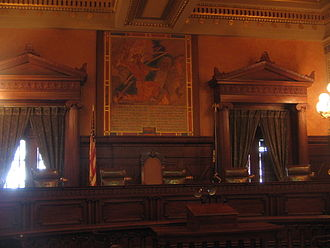 Supreme Court of Pennsylvania - Judges' seats in the Pennsylvania Supreme Court's chambers in the Pennsylvania State Capitol