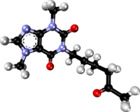 Pentoxifylline xtal 2005 ball-and-stick.png