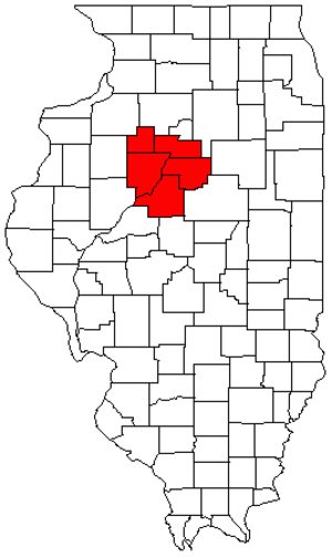 Peoria metropolitan area, Illinois - Map of Illinois highlighting the Peoria Metropolitan Statistical Area.