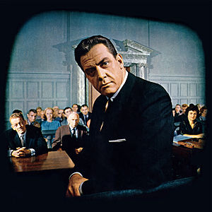 Raymond Burr - Raymond Burr and (front row, from left) William Talman, Ray Collins and Barbara Hale on the set of Perry Mason, from the front cover of Look magazine (October 10, 1961)