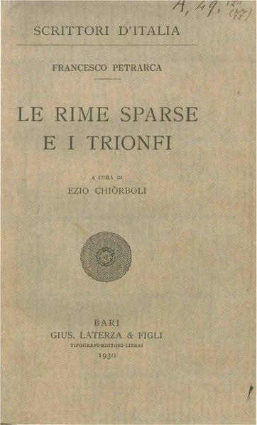 File:Petrarca, Francesco – Le rime sparse e i Trionfi, 1930 – BEIC 1893084.pdf