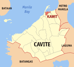 Map of Cavite showing the location of Kawit