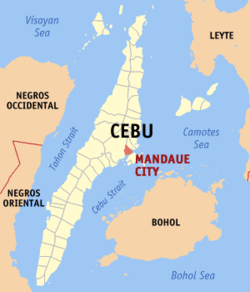 Map of Cebu showing the location of Mandaue.