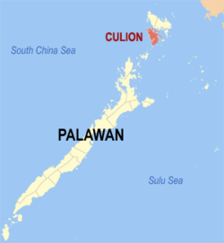 Map of Palawan with Culion highlighted