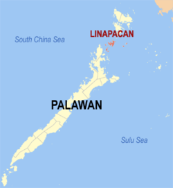 Map of Palawan with Linapacan highlighted